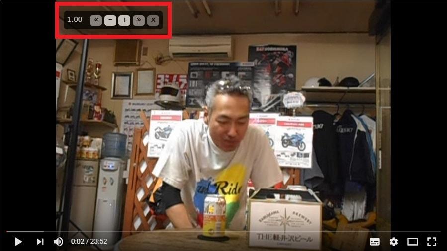 Youtubeの動画再生画面に表示されているVideo Speed Controllerのコントローラー項目の詳細