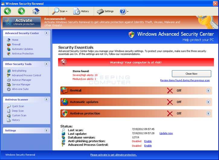 Windows Security Renewalの駆除方法