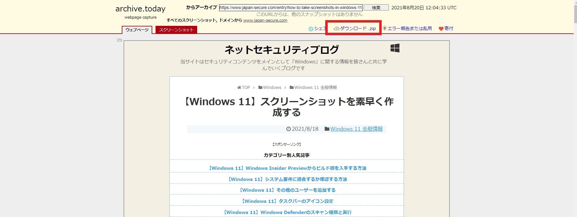Archive.nuでネットセキュリティブログの個別記事を保存した画面
