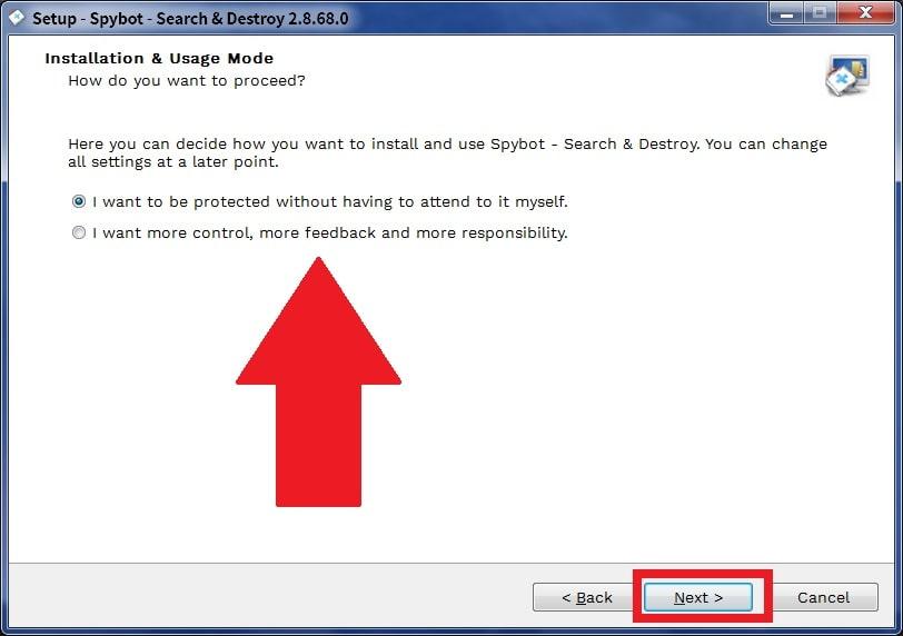 spybotのセキュリティレベルを選択する画面