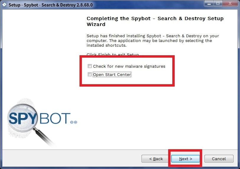 spybotのインストールが完了した画面