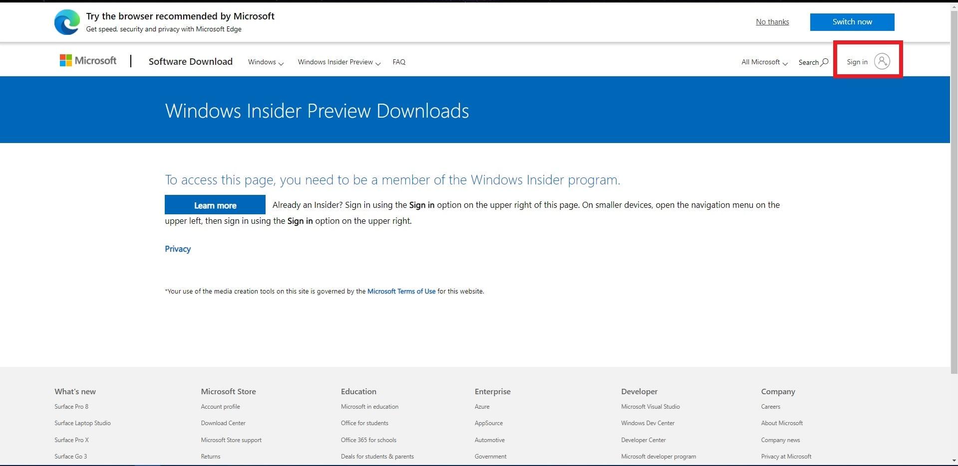 Windows 11 Insider Previewのイメージファイルを配布する公式サイト