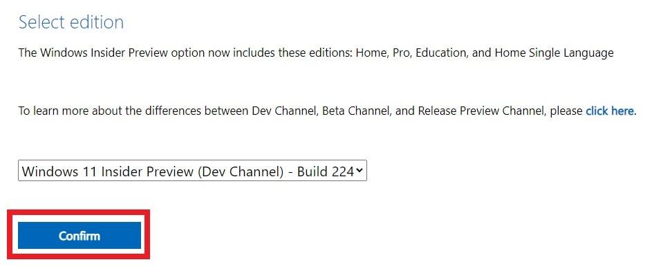 Windows 11 Insider PreviewのISOファイルのエディションを選択した後の画面