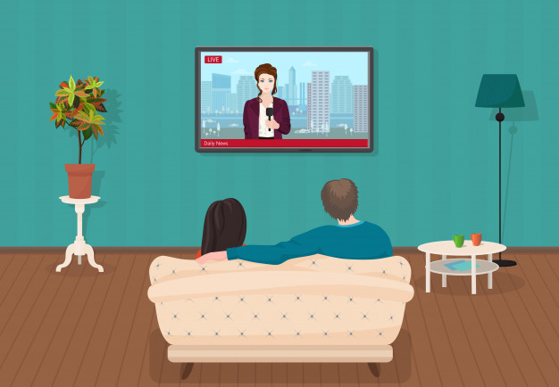 テレビを見るカップルのイラスト