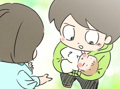 娘との初対面、そして初抱っこ。感動…と思いきや、数秒で「返す」!? by 丸本チンタ