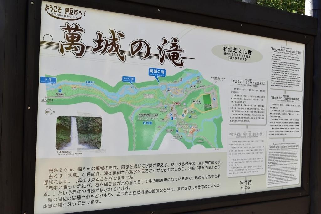 萬城の滝(バンジョウノタキ)の案内掲示板