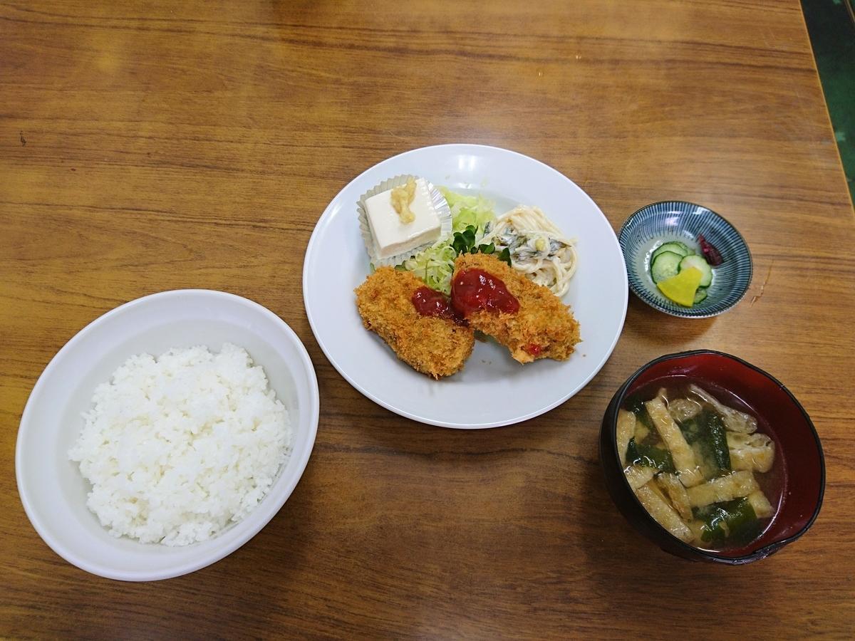 あきば食堂の日替わり定食(コロッケ定食)