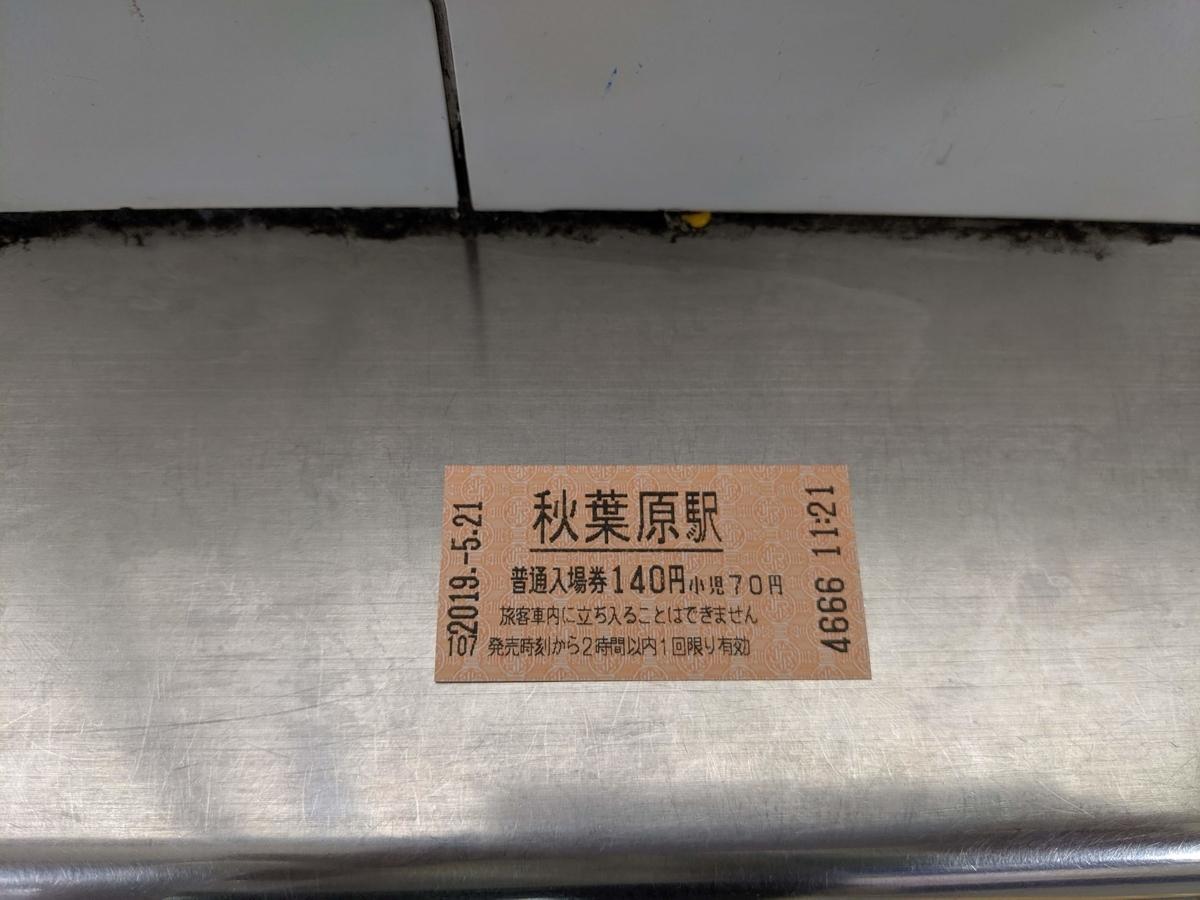 秋葉原駅の入場券