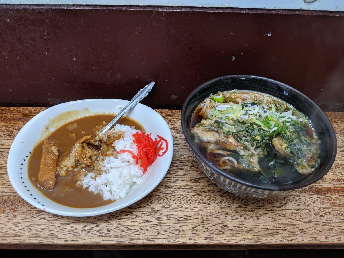 きぬそばの天ぷらそば&ミニカレーセット