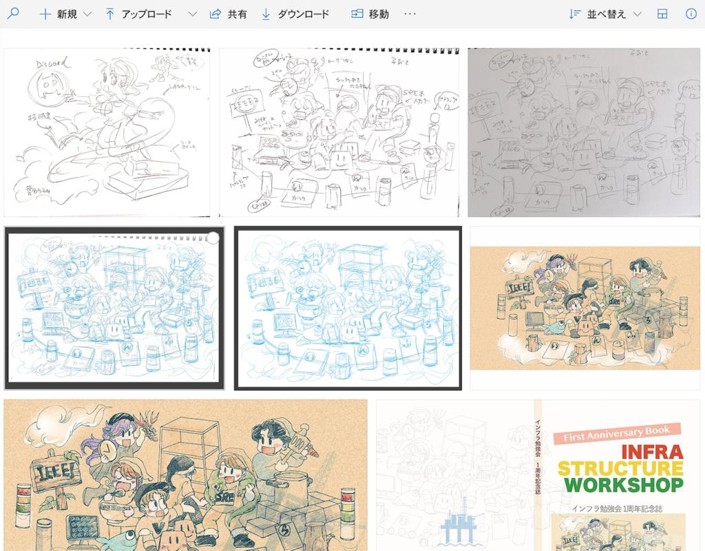 OneDriveでのイラストラフから作画までの過程