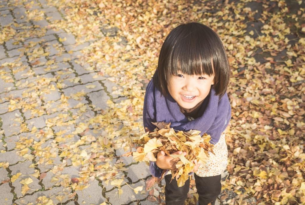 孫が落ち葉を拾う画像