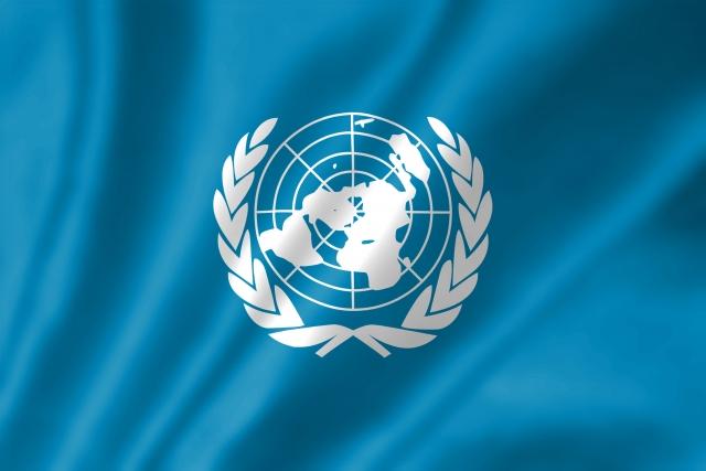 青色の国連の旗