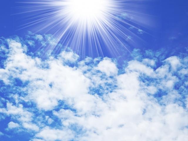 外でふりそそぐ太陽の光