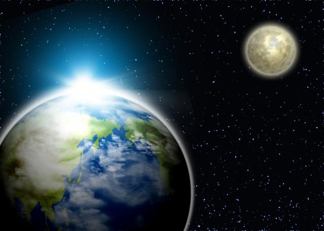 地球と月の画像