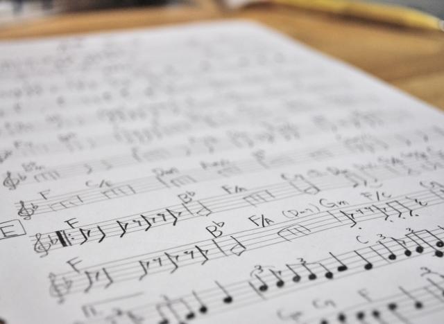 歌で使用していた楽譜