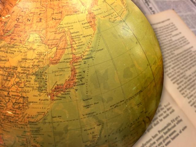 日本が描かれている地球儀