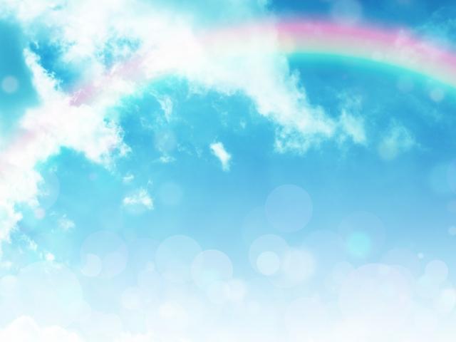 虹と太陽の画像