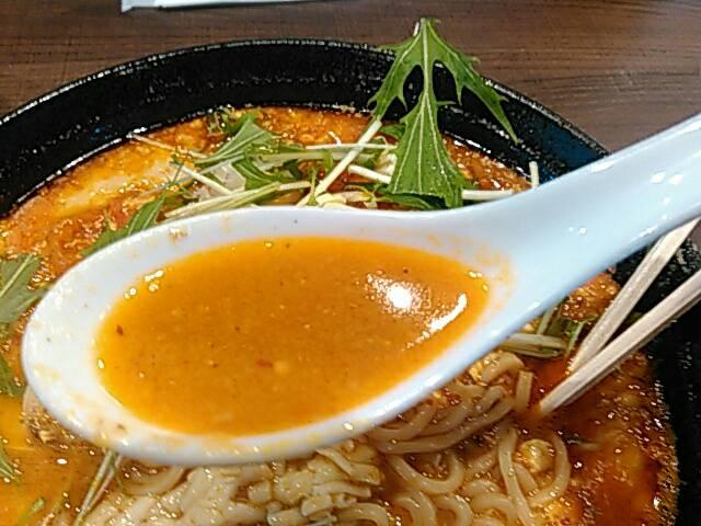 エビチリチーズの担々麺のスープの画像