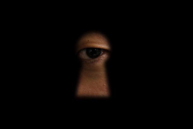 隙間から覗く幽霊の瞳