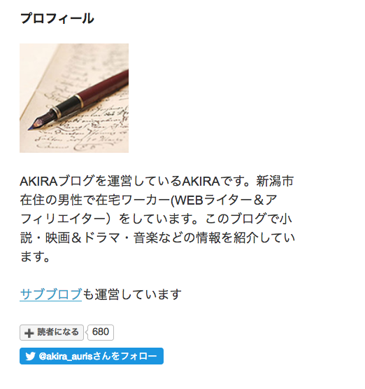 メインブログのプロフィール