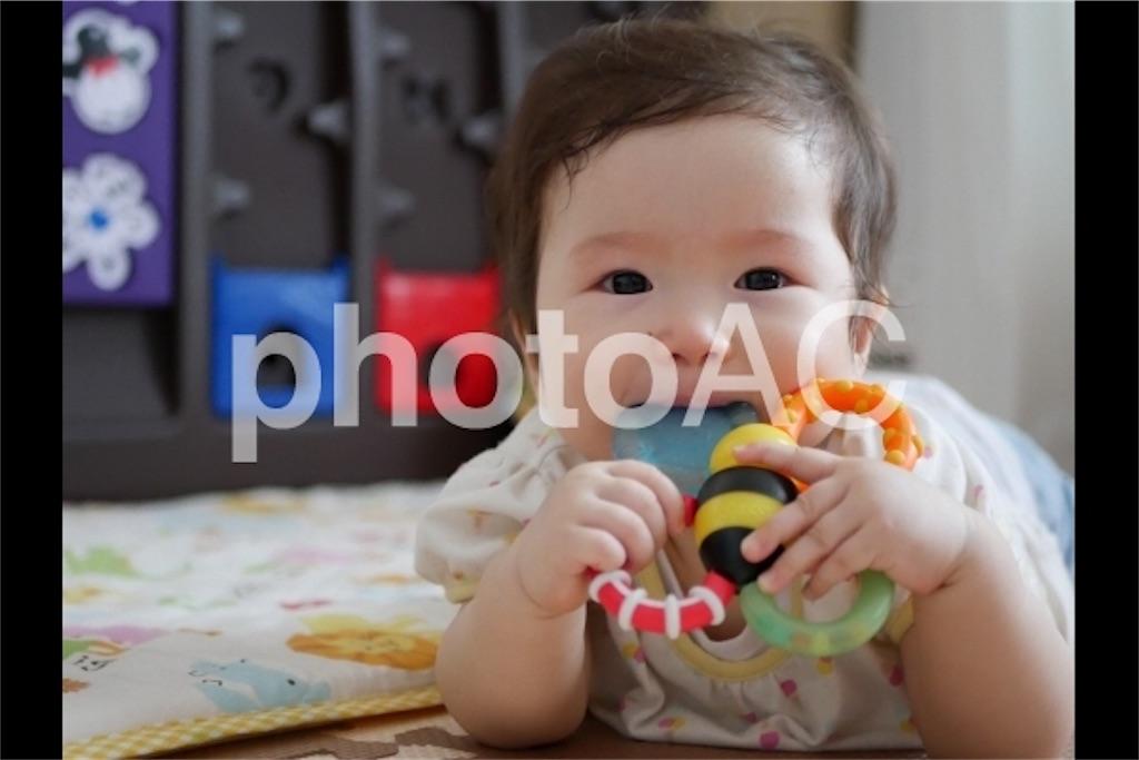 おもちゃを噛む赤ちゃん