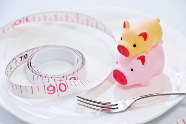 メジャーと豚のマスコット、ダイエットイメージ