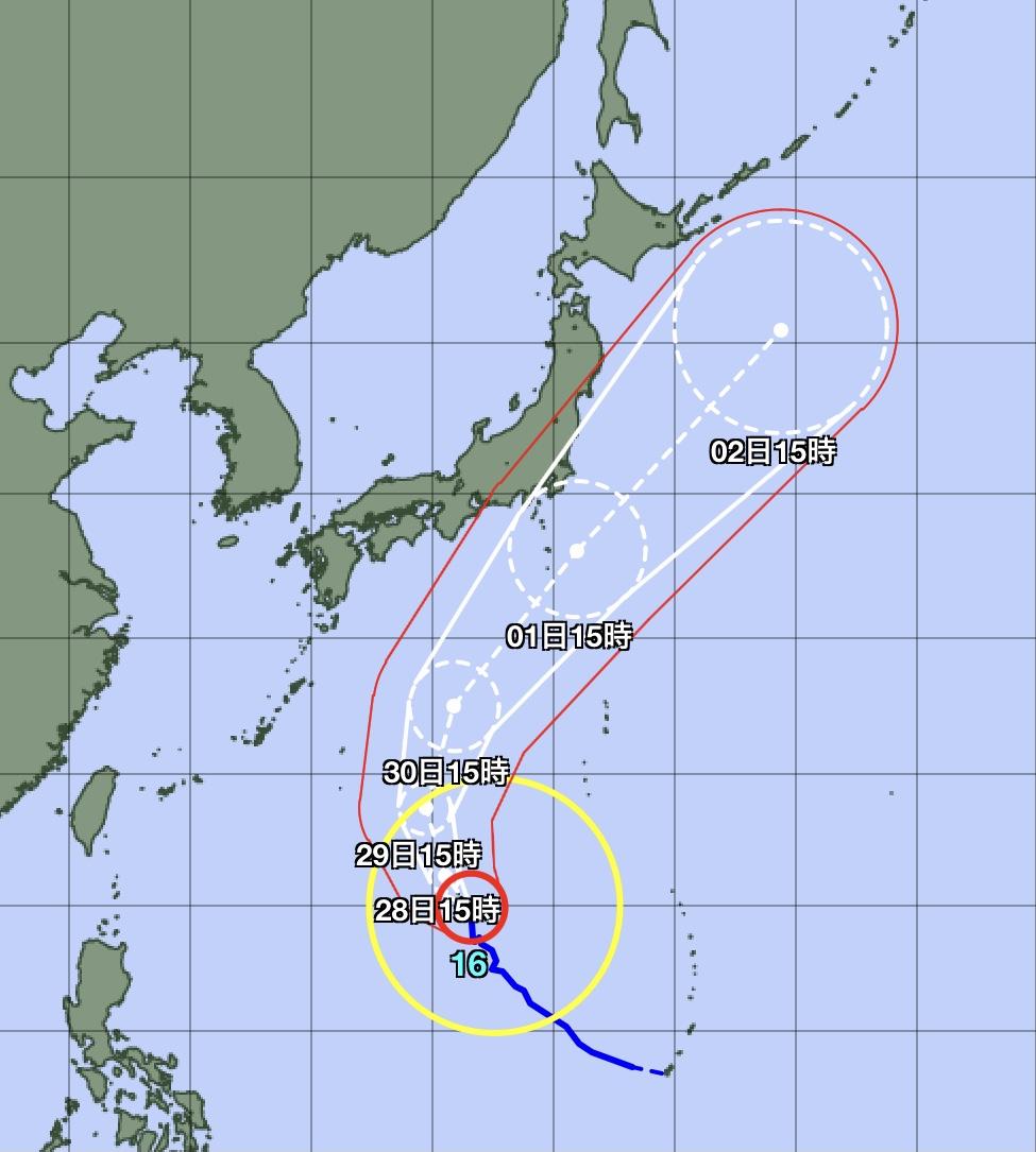 気象庁台風16号進路進路予想図(27日15時)