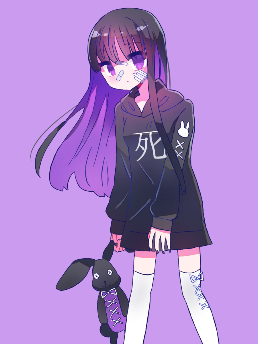 女の子 紫 病みかわいい フリーアイコン