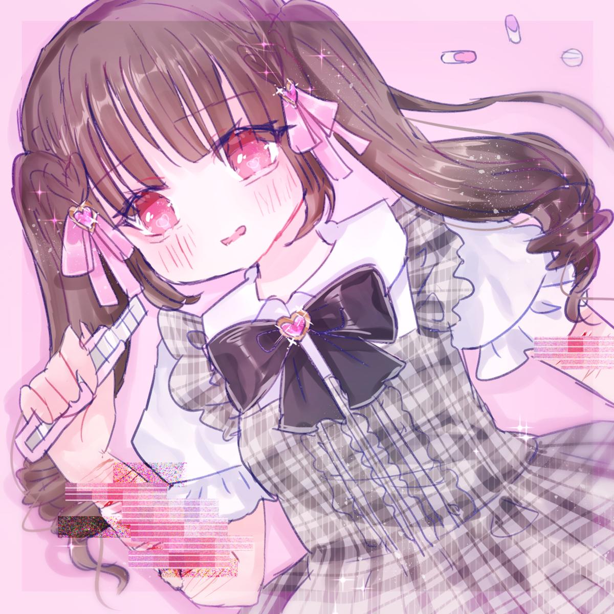量産型オタク 量産型ヲタク オリジナル イラスト 女の子 可愛い メンヘラ ピンク