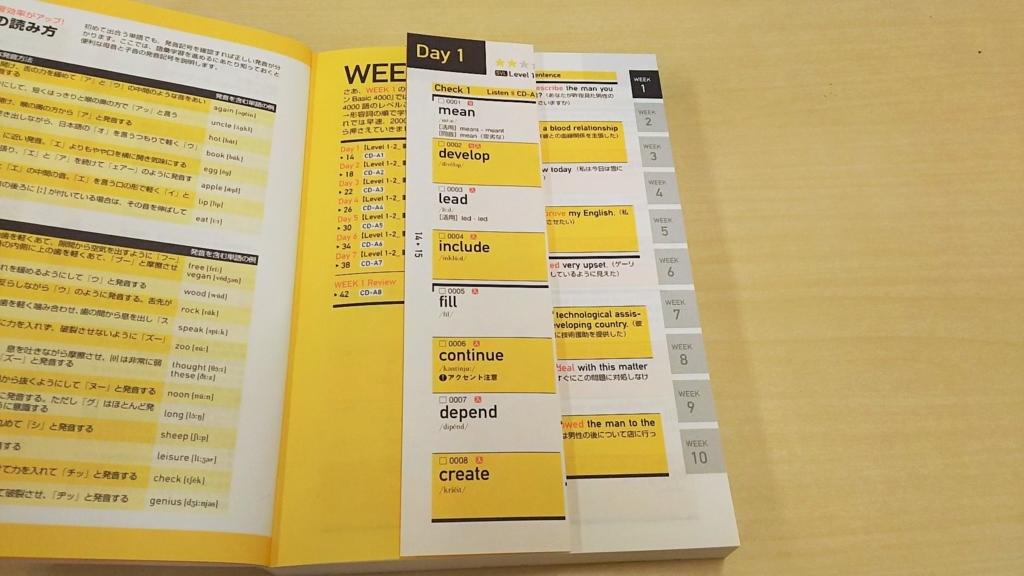 「キクタン」を英単語だけが見えるように各ページを手前に折り返す