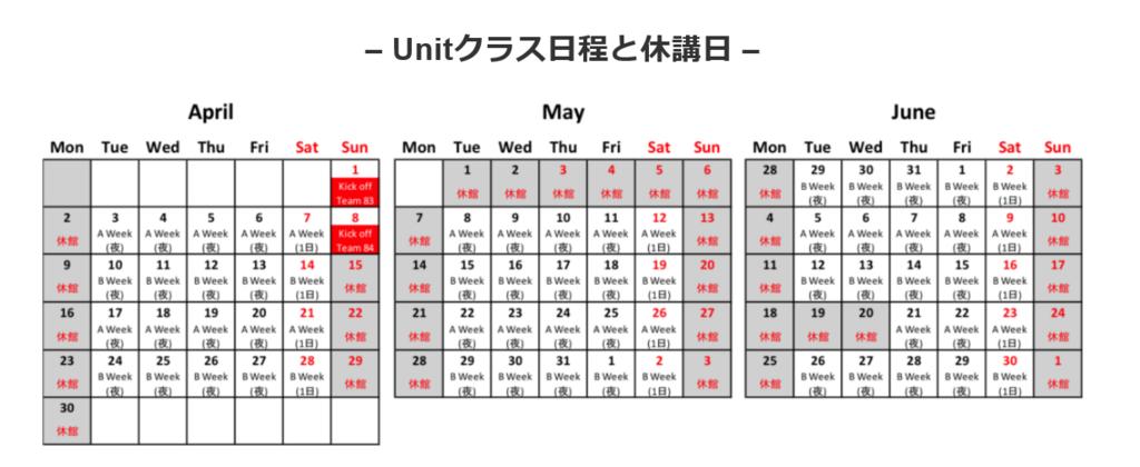 ジムのスケジュール例2018年4月スタートのクラス