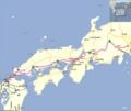 福岡−東京 山陽道、中央道ルート