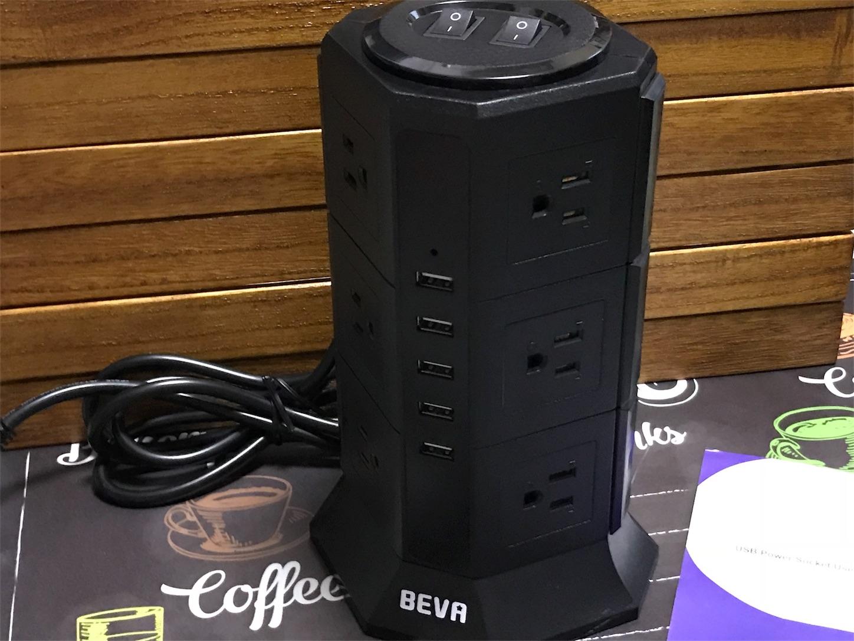 BEVA タワー式電源タップ 正面写真