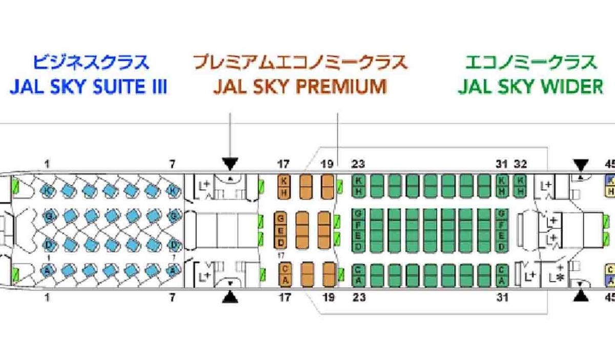 B787-9の座席図(引用:JALホームページより)