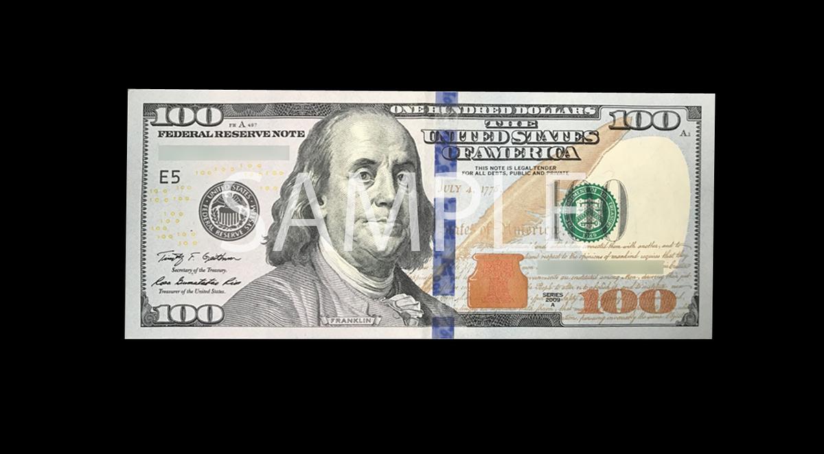 偽造防止処理が強化された新100ドル紙幣