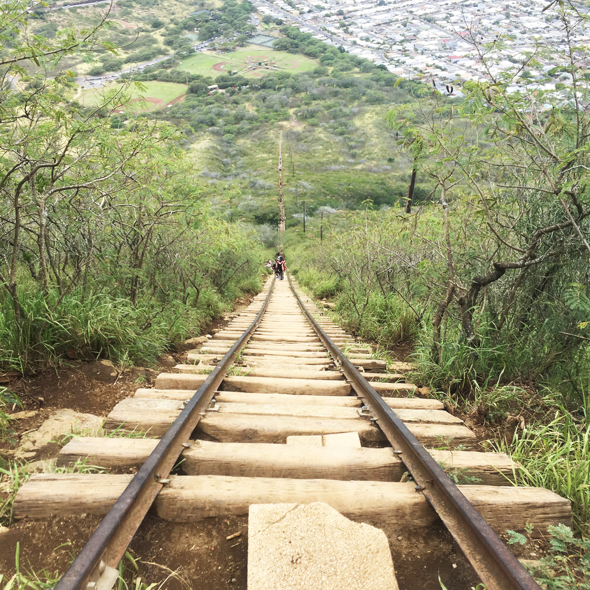 はるか下まで続く線路