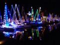電飾で飾られたヨットたち。