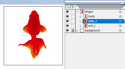 上から見た金魚