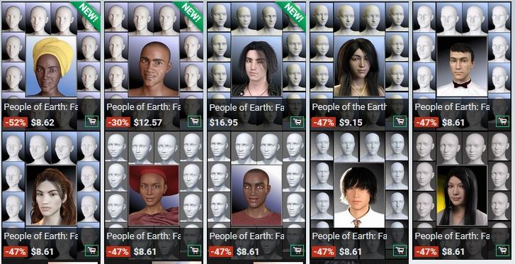 Sickleyield People of Earth 3Dフィギア、国別顔モーフ