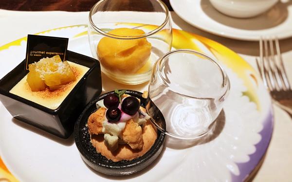 【アトリエ】エキゾチックパッション(シャーベット)、カシスとゴルゴンゾーラのクランブル タイムの香り、ベイクドココナッツチーズケーキ