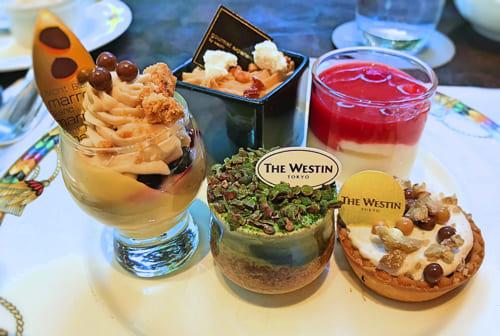 ザ・テラス2018年11月デザートブッフェ「レモンクリームとマロンシャンティ、林檎のフランマロンのクリーム*、牛乳プリンイチゴソース、マロン&抹茶のティラミス、柚子風味のタルトショコラマロンクリーム」
