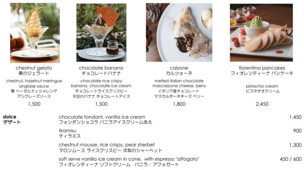 グランドハイアット東京 フィオレンティーナのデザートメニュー