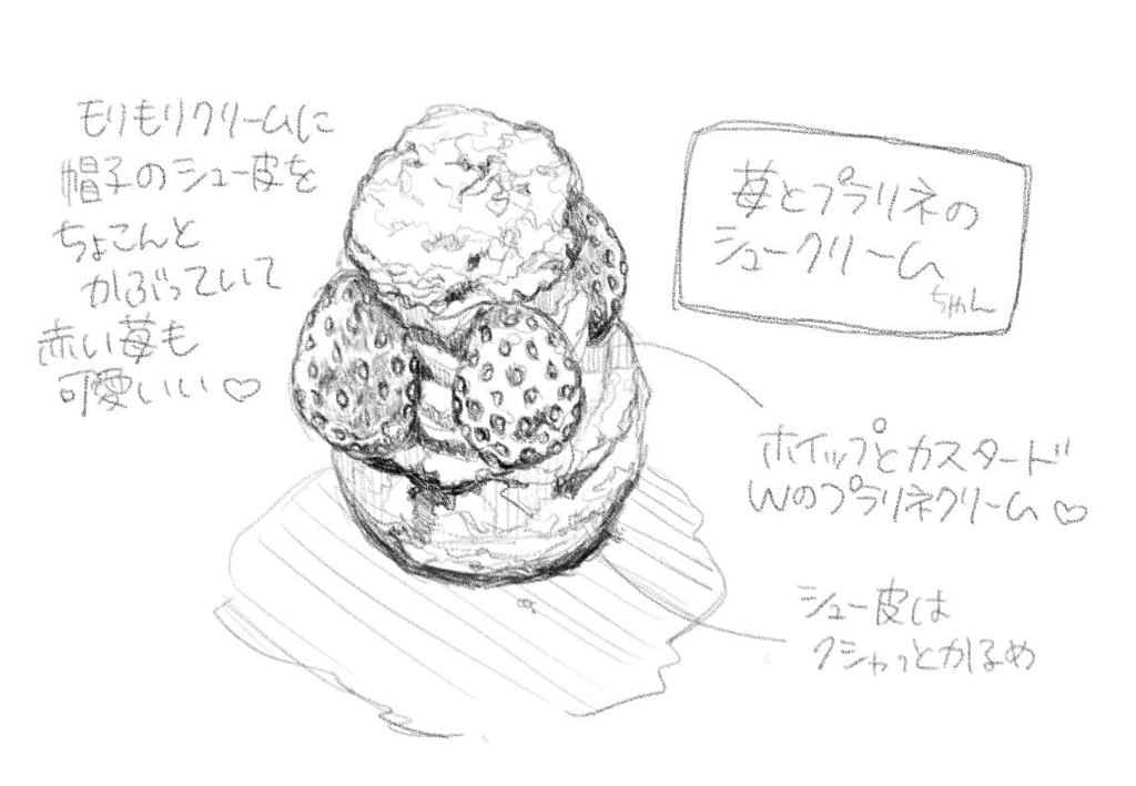苺とプラリネのシュークリーム。可愛さに夢中で個別写真を撮り忘れたので(^^;)イラストに描いてみました