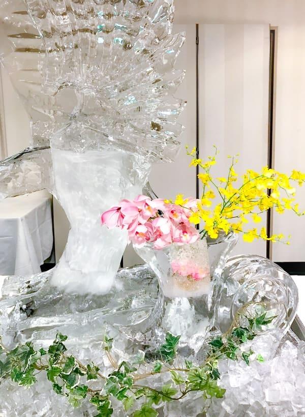 川崎日航ホテル 氷の彫像 プレミアムスイーツブッフェにて