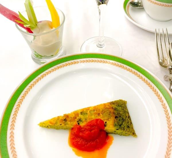 川崎日航ホテル 野菜スティックアンチョビクリーム、スパゲティフリッタータ
