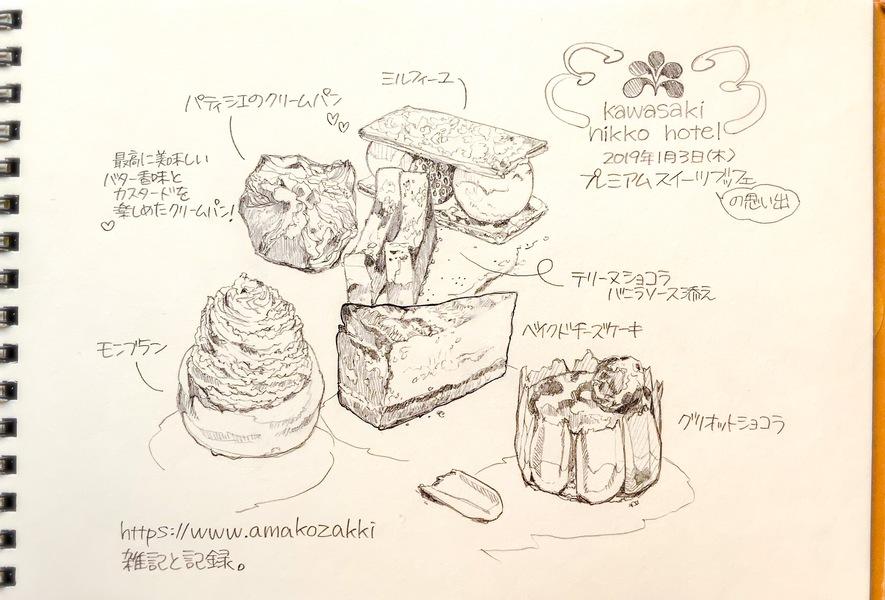 川崎日航ホテル プレミアムスイーツブッフェ 美味しかったスイーツをイラストに描いてみました