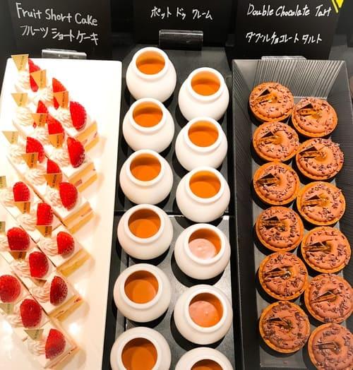 ザ・テラス アトリエコーナー メニュー「ダブルチョコレートタルト*、ポットドゥクレーム、フルーツショートケーキ」