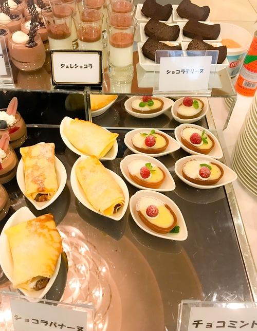 京成ホテルミラマーレ ミレフォリア デザートバイキング 2019年2月 ブッフェ台写真 ジュレショコラ、ショコラテリーヌ、ショコラバナーヌ、チョコミント