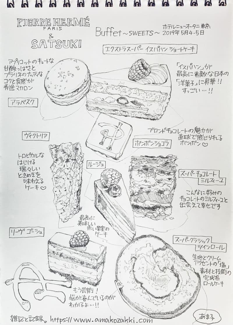 ホテルニューオータニ東京 スイーツビュッフェ ピエール・エルメ・パリ&SATSUKI 美味しかったスイーツを絵にまとめました。スイーツイラスト ブログ