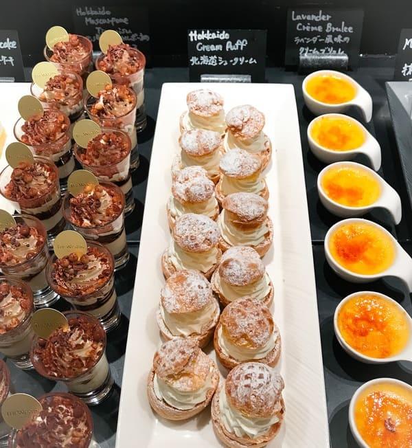 ザ・テラス ラベンダー風味のクリームブリュレ、北海道シュークリーム、北海道マスカルポーネのティラミス